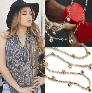 Heart Charm Figaro Layering Necklace N1315