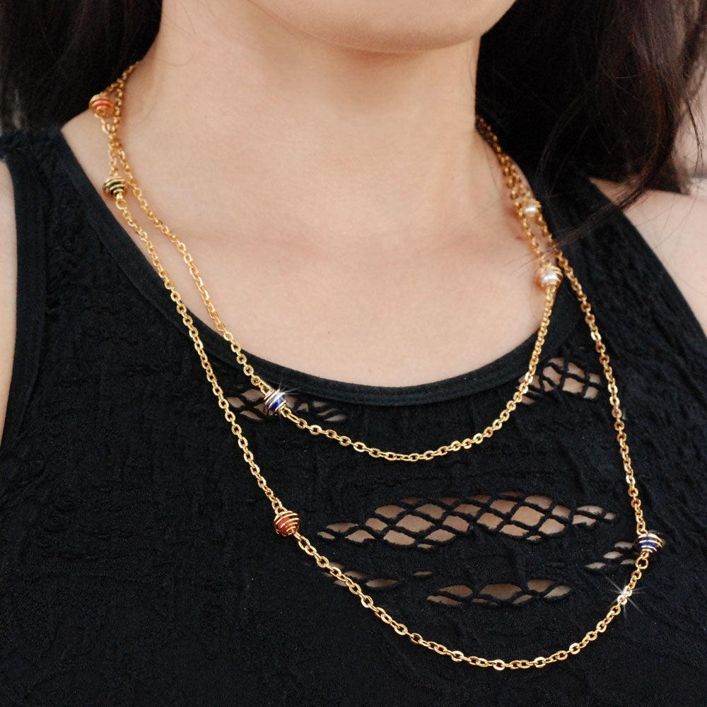 Caged Beads Retro Layering Necklace N1318 - sweetromanceonlinejewelry