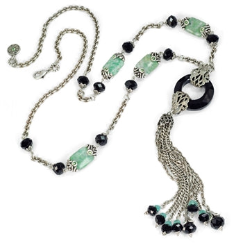 Art Deco Black and Silver Jade Asian Tassel Necklace