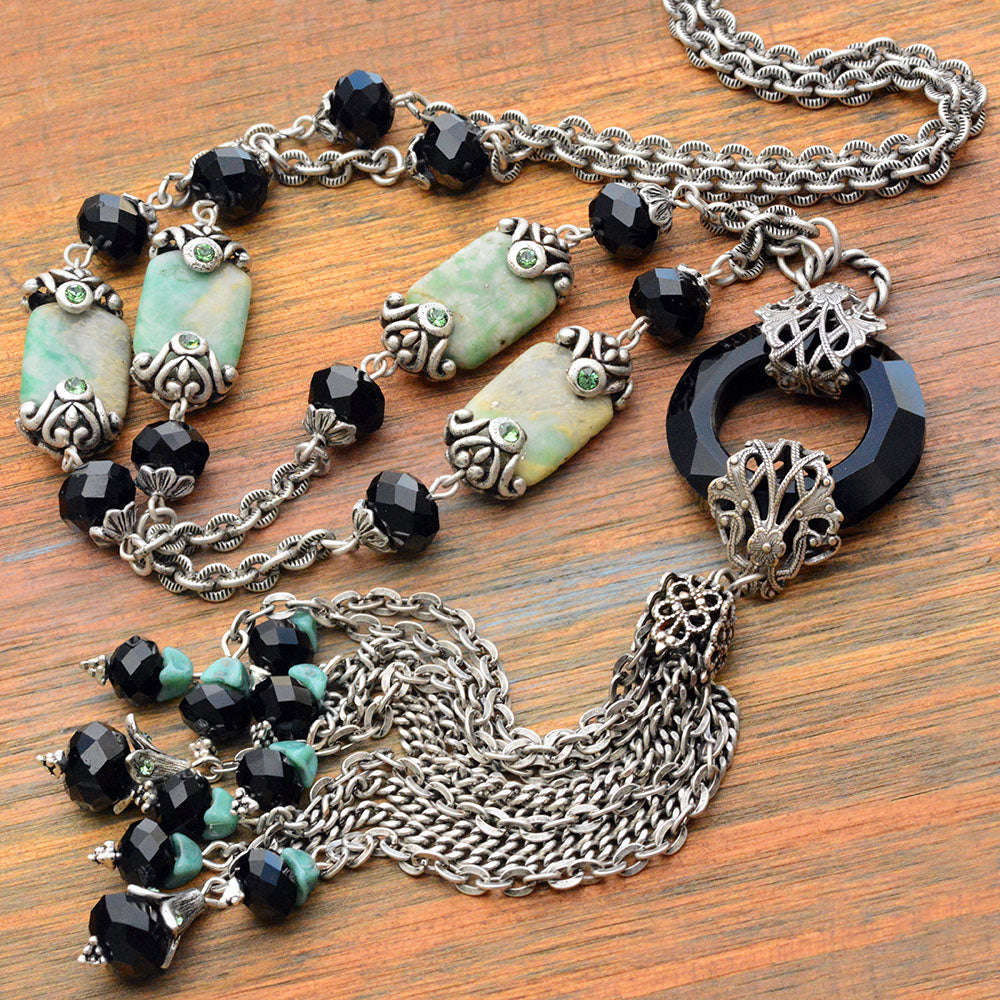 Art Deco Jade Asian Tassel Necklace N1336