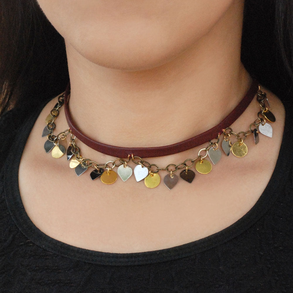 Sparkle Swag 1960s Leather Choker N1351 - sweetromanceonlinejewelry
