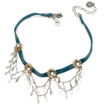 Flower Sparkling Swag 1960s Leather Choker N1353 - sweetromanceonlinejewelry