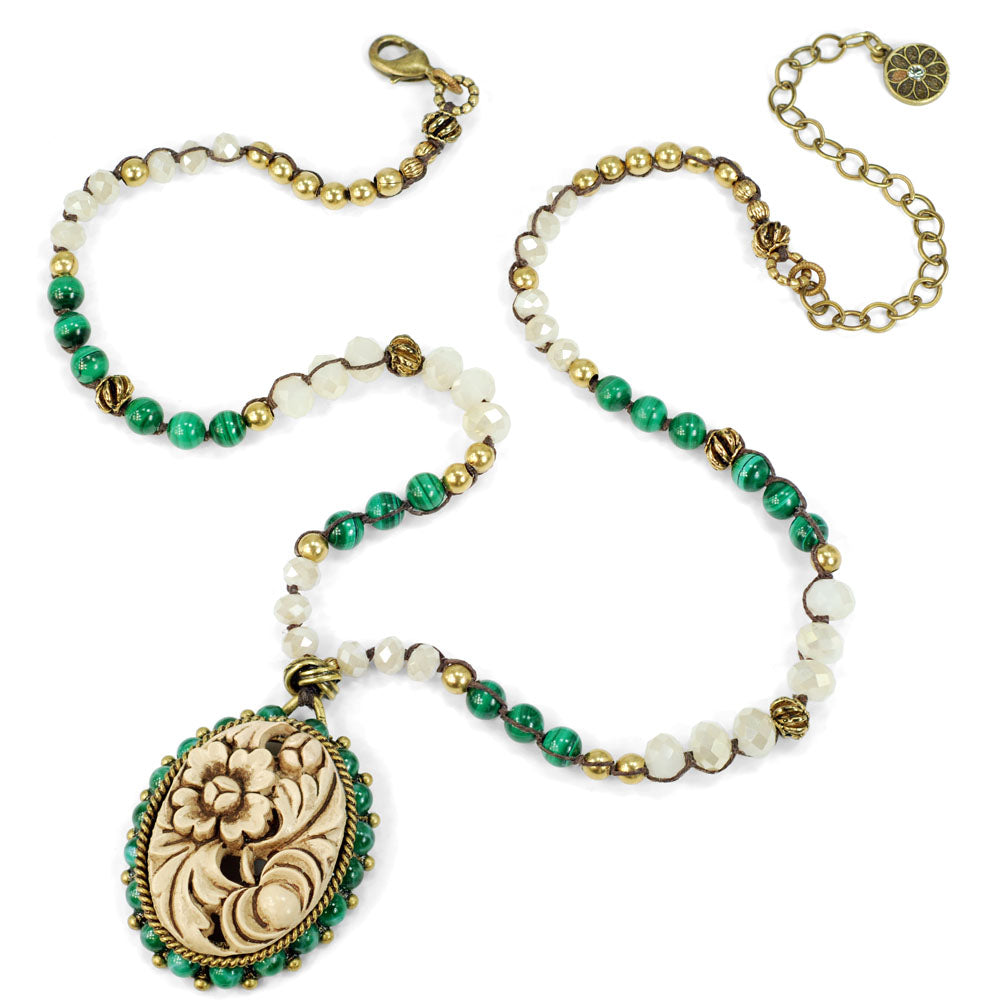Quan Yin Malachite Garden Necklace N1360