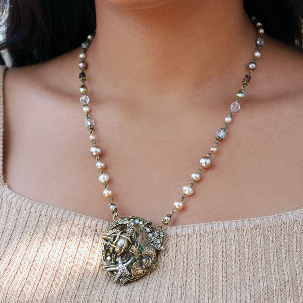 Sea Turtle Pearl Ocean Necklace N1361