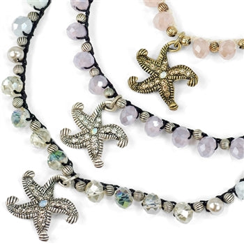 Crystal Beaded Starfish Necklace N1364 - sweetromanceonlinejewelry