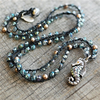 Crochet Beaded Seahorse Necklace N1366 - sweetromanceonlinejewelry