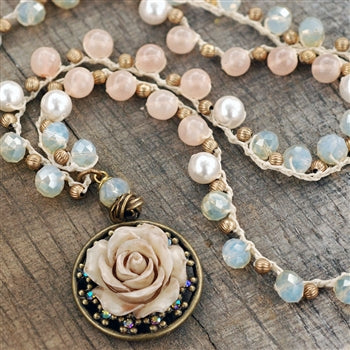 Peach Opal Dawn Beaded Necklace with Vintage Rose Pendant N1371 - sweetromanceonlinejewelry