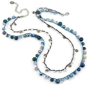 Cancun Dbl Strand- Gem Blues N1373 - sweetromanceonlinejewelry