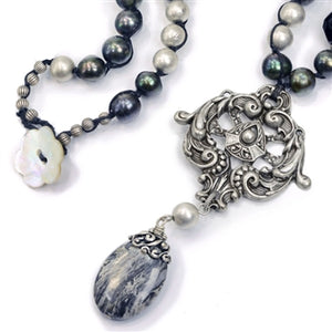 Black & Gray Gemstone Baroque Necklace N1378-JT