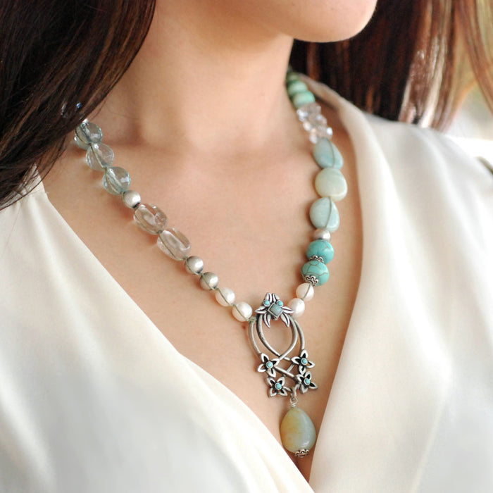 Boho Beach Gemstone and Pearl Necklace N1378