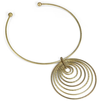 1970s Retro Circle Necklace N1379 - sweetromanceonlinejewelry