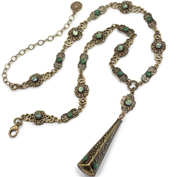 Old Czech Drop Necklace N1381 - sweetromanceonlinejewelry