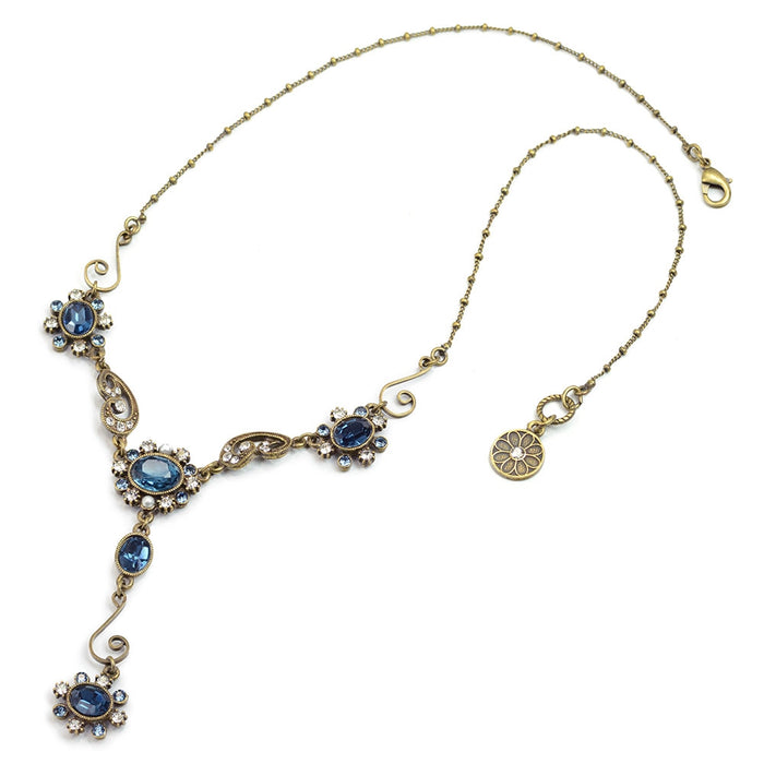 Sapphire Blue Victorian Jewel Y Necklace SR_N1402