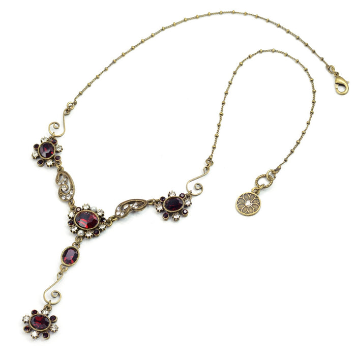 Garnet Crystal Victorian Jewel Y Necklace SR_N1402