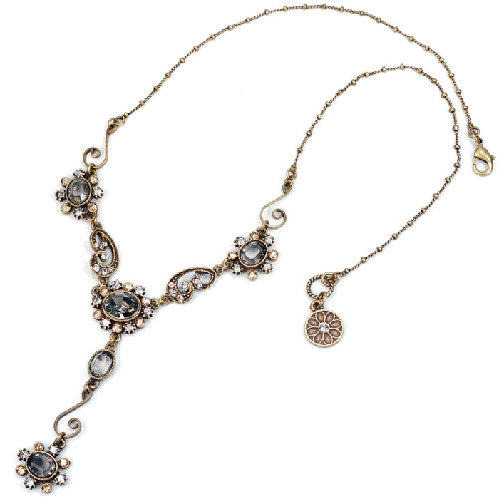 Smoke Crystal Victorian Jewel Y Necklace SR_N1402