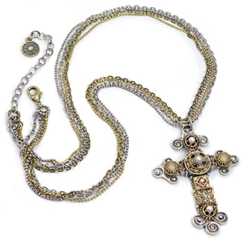 Vintage Jeweled Cross Necklace