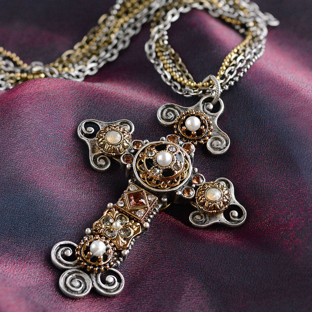 Vintage Jeweled Cross Necklace N1404