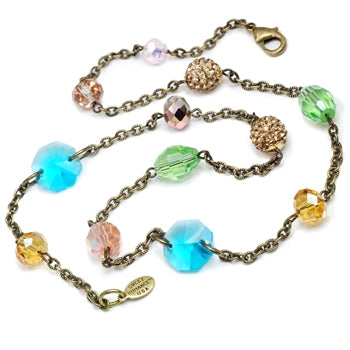 Sparkly Summer Bead Necklace N1414-RG - sweetromanceonlinejewelry