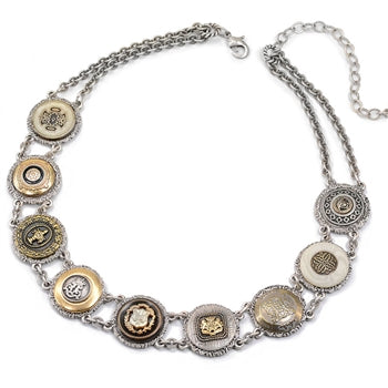 English Button Collar Necklace N1417 - sweetromanceonlinejewelry