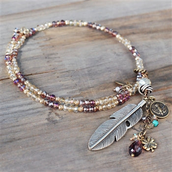 Boho Beaded Feather Choker Necklace N1418 - sweetromanceonlinejewelry