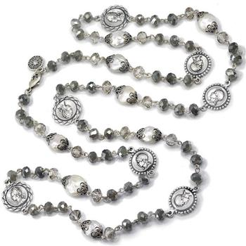 Opal Glass, Pearl Coin Necklace N1427 - sweetromanceonlinejewelry