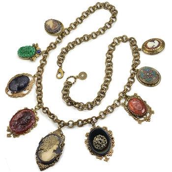 Antique Elements and Cameo Charm Necklace N1435 - sweetromanceonlinejewelry