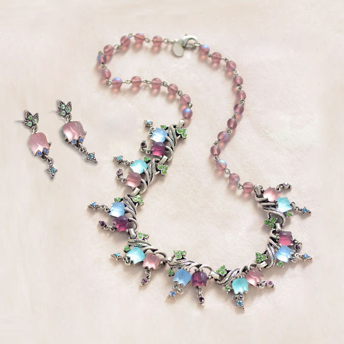 Pastel Satin Tulips Necklace and Earring Set