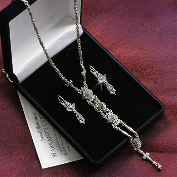 Starlight Silver Y Necklace and Earring Set - sweetromanceonlinejewelry