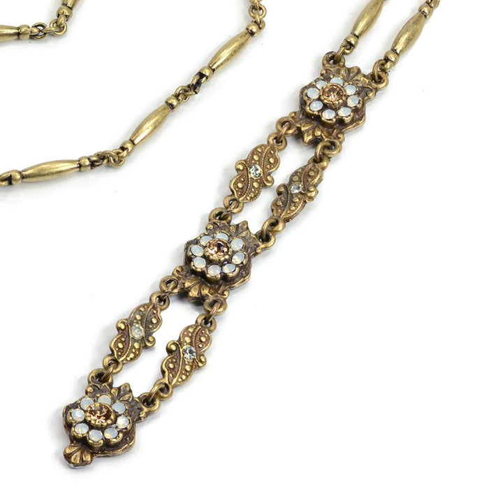 Art Deco Vintage Gold Opal Y Necklace