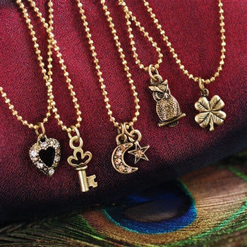 Tiny Charm Necklaces - Bronze