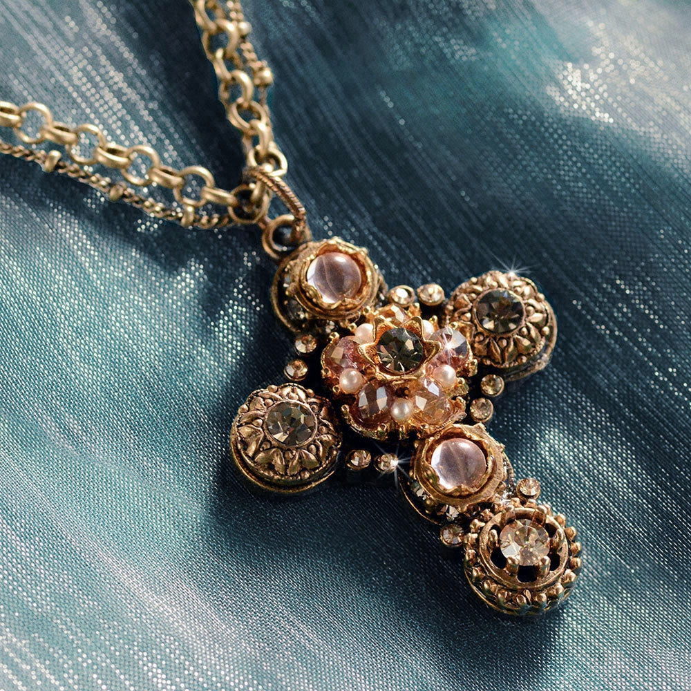 Etheria Bronze Cross Necklace N1456 - sweetromanceonlinejewelry