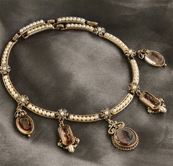 Marjorelle Intaglio and Pearls Collar Necklace