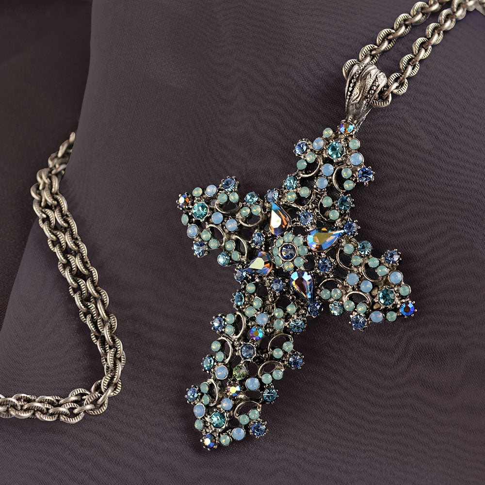 Crystal and Lace Cross Necklace N1465 - sweetromanceonlinejewelry