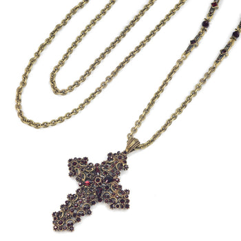 Garnet Cross Necklace N1465-GA