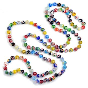 Millefiori Glass Round Knotted Beads Necklace