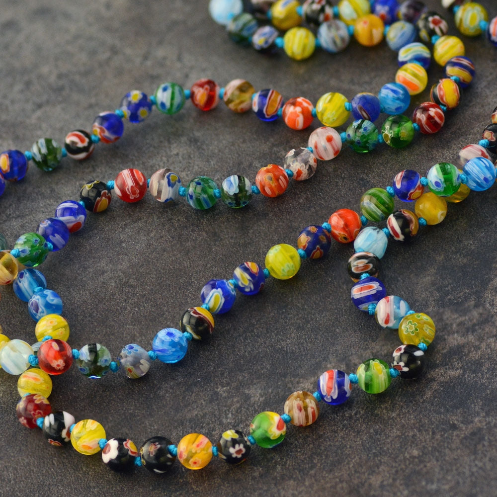 Millefiori Glass Round Knotted Beads Necklace N1473 - sweetromanceonlinejewelry
