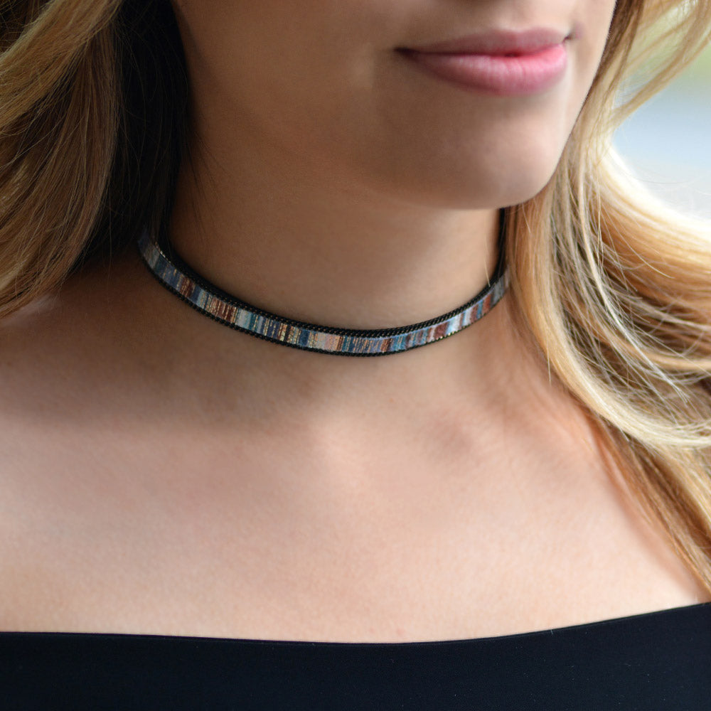 Ocean Blues Suede Choker Necklace N1480 - sweetromanceonlinejewelry