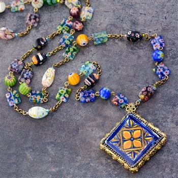 Millefiori Beads Talavera Tile Pendant Necklace N1483 - sweetromanceonlinejewelry