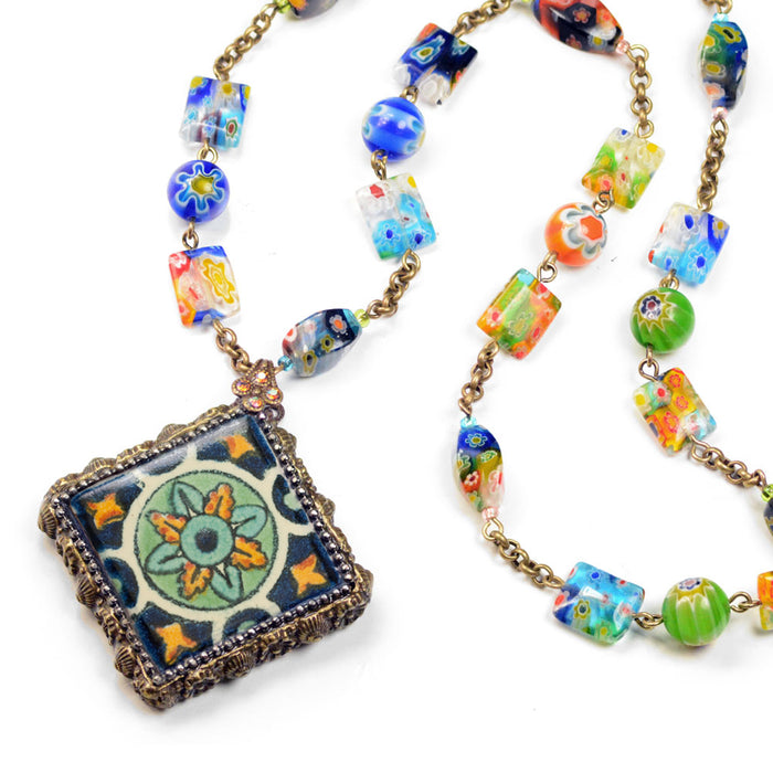 Millefiori Beads Talavera Tile Pendant Necklace