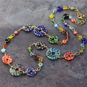 Millefiori Glass Circles Rainbow Modern Necklace N1485 - sweetromanceonlinejewelry
