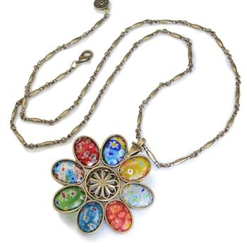 Millefiori Glass Candy Flower Pendant Vintage Necklace N1486 - sweetromanceonlinejewelry