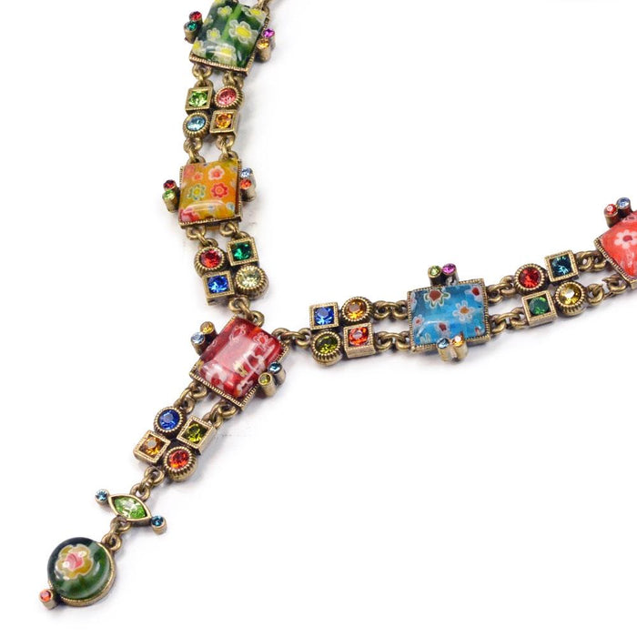 Millefiori Glass Geometric Link Y Necklace