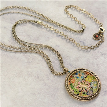 Engraved Boho Flower Medallion Necklace