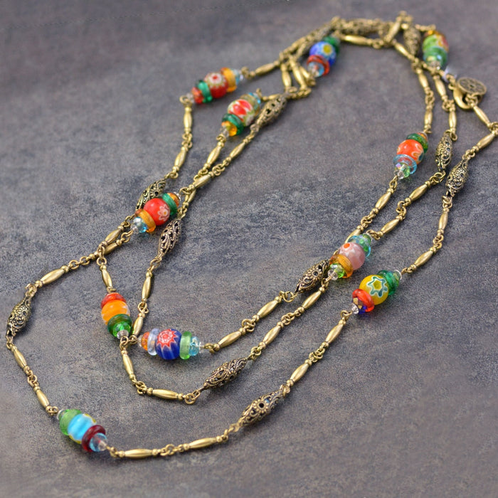 Long Millefiori Beads Chain Necklace
