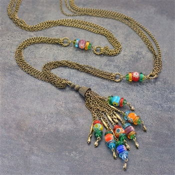 Millefiori Glass Candy Chain Tassel Necklace N1492 - sweetromanceonlinejewelry