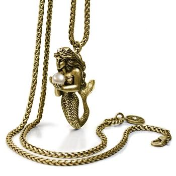 Mermaid Sculpture and Pearl Pendant Necklace - sweetromanceonlinejewelry