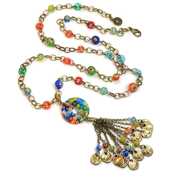 Millefiori Glass Candy Bead Tassel Necklace N1495 - sweetromanceonlinejewelry