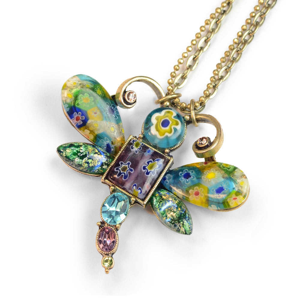 Millefiori Glass Dragonfly Pendant Necklace N1497-BG