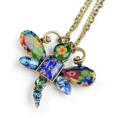 Millefiori Glass Dragonfly Pendant Necklace