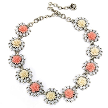 Rose Collar Necklace N1501-SIL - sweetromanceonlinejewelry